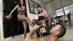 XXX Fucktory judge gets a hot threesome with two sluts in sexy stockings