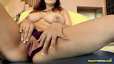 Naturally big tit brunette shows them off and her bald twat, then he licks