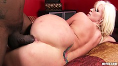 Blonde tramp with a thick ass gets a meat injection from a BBC