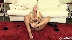 Noble and prideful whore in stockings Bridgette B rehearses in a room with red carpet