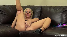 Lisa shows off her big tits and licks and sticks her dildo in her hole