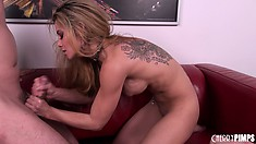 Ryder's sexual adventure ends on a high note as she finishes him off with her lips