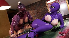 The lustiness of latex ladies lets loose on the pool table as they fuck the cue stick