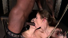 He bangs their tight white ass with his big black cock then puts them back in their cage