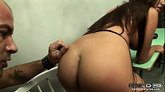 The curvy brunette rides his big cock before he pounds her ass from behind