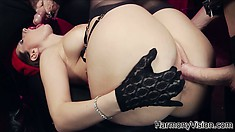 She swallows one stiff tool and gets hammered by another in a threesome