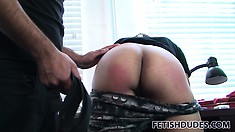 With his pants down, Alejandro bends forward while his friend spanks his butt
