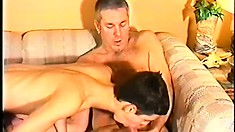 Mature guy and his young lover trade blowjobs and lick asses