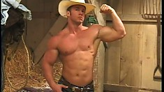 Gay cowboy with chiseled body poses and grabs his hard pecker