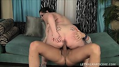 Goth BBW with pancake tits gets her cunt fucked hard and licked