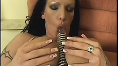 Kinky brunette dykes drill each other with their best sex toys
