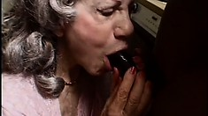 Granny Gigi gives her saggy pussy up to the hunky chocolate plumber