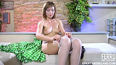 Eager Amelia C strips in front of the camera and shows you her stuff