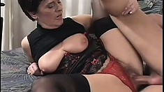 Young stallion gets his manhood worked by a mature short-haired slut