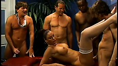 Sexy Vanessa Videl gets her creamy pussy wrecked by four huge cocks