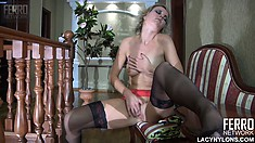 Hot blonde in sexy lingerie caresses her hard nipples and fingers her twat to climax