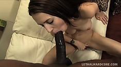 Teen Jenna Justine in her first filmed sex scene with a black dude