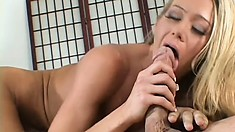 Striking blonde cougar with a perfect body gets fucked hard in front of her husband