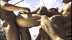 Mihaly gets into a dirty gay threesome with two vicious jackhammers
