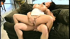 Marvelous well-endowed hooker Ava Devine is worn-out by three penises