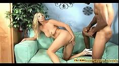 Blonde hottie Jordan Kingsley takes every inch of a big black rod deep in her pussy