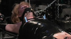 Naughty transvestite enjoys some bondage play in a freaky scene
