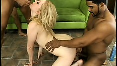Petite blonde has three horny black dudes roughly pounding her holes