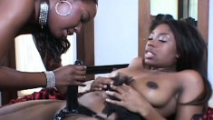 Wild black lesbians drive each other's wet pussies to orgasm with a few sex toys