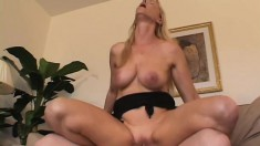 Blonde MILF Nicole Moore is proficient at giving blowjobs and getting banged