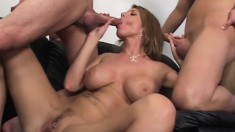 Buxom cougar Kayla Quinn gets fucked by Donny Long and John Esposito