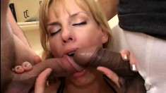 A kinky housewife has two big meaty poles to ravage her butt