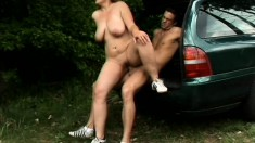 Sophie Von Tramp shares a moment of rough outdoor sex with her man