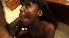 Tantalizing black prostitute grinds her lover's big black wang