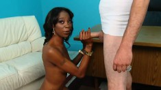 Beautiful black girl with a sexy slim body has a white guy fulfilling her sexual needs