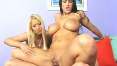 These two bad girls play with each other while fucked by their man