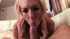 Pretty blonde Victoria White shows off her body and her blowjob skills