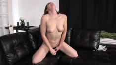 Hot brunette Shelia Faye uses a black dildo to make herself cum hard