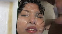 Curvy Asian starlet gets wet while having her face covered in sticky cum