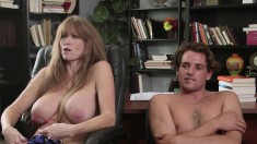 Couples are talking about their sex lives and one bitch has huge tits