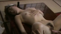 Jewels is a horny Asian bitch that gets her twat toyed by a willing participant