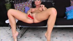 Silvia Saint Plays With A Sexy Red Dildo And Teases With Her Pussy