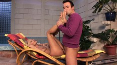 Stunning blonde Jasmine Rouge gets her feet licked and her cunt fucked