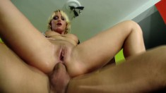 Cathy Campbell gets her ass licked and fucked before he jerks off on it