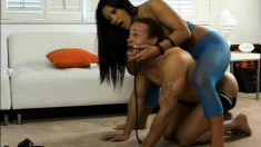 Asian babe Christina Aguchi whips her slave and he licks her toes