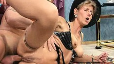 Naughty mature lady sighs with delight as a young man drills her ass