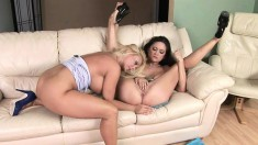 Luscious milfs drive each other's fiery pussies to orgasm on the sofa