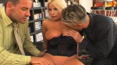 Young blonde hottie takes two bulging bones in her skilled hands