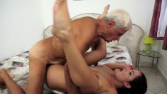 Charming young brunette with big natural boobs fucks a horny old man