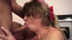 Fat Margitta blows him and her big boobs flop all over when he fucks her