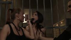 Stunning bimbo in prison begs to be taken advantage of by two sluts